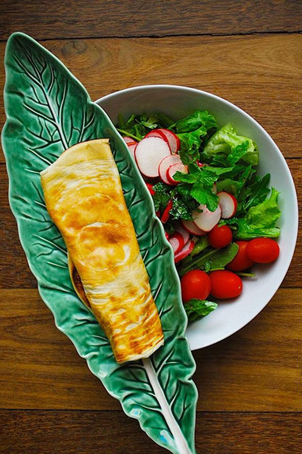 Salade aux Radis avec des Crepes au Jambon