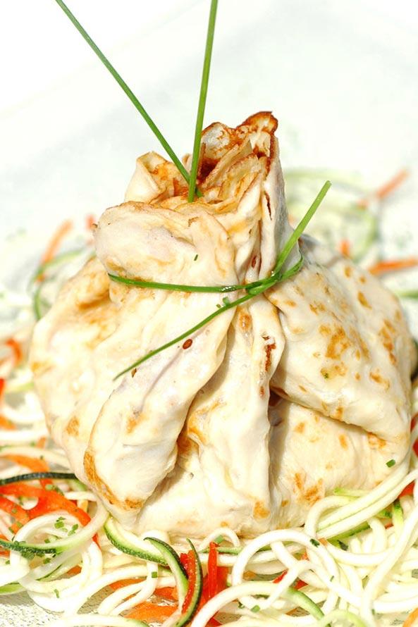 Recette Lev Diet Crêpe au Jambon farci à la Courgette et Poivron
